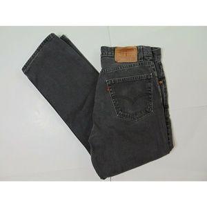 Vintage Levi 505 34X28 Black Jeans Straight Denim